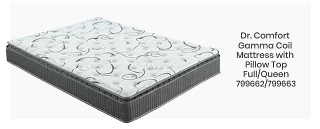 Dr. Comfort Gamma Coil Mattress with Pillow Top Full/Queen